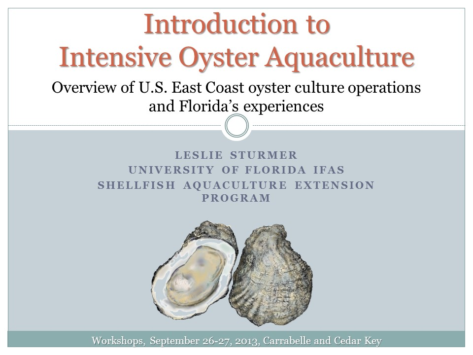 Introduction to Intensive Oyster Aquaculture PICTURE