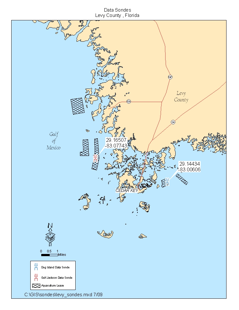 Map of Monitoring Stations in Dog Island (Levy County)