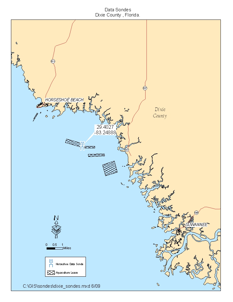 Map of Monitoring Stations in Horseshoe Beach (Dixie County)
